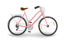 Pink women`s bike. Isolated women`s bicycle, vector vector illustration