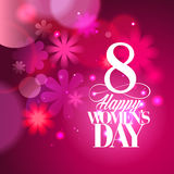 Pink Women`s day card with bokeh lights. Royalty Free Stock Photo