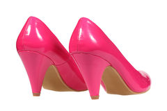 Pink women's heel shoes Royalty Free Stock Images