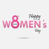 Pink `Women` Typographical Design Elements. International women`s day icon.Women`s day symbol.Minimalistic design for international women`s day concept.Vector Stock Photos