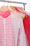 Pink womens clothes on hangers on rack on white background. clos. Pink womens clothes on wood hangers on rack on white background. closet women dresses, blouses stock images