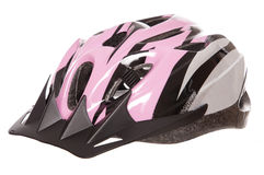 Pink womens cycling helmet Stock Photography