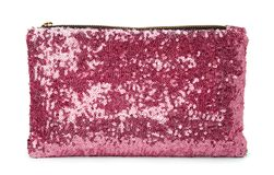 Pink womens glitter purse Royalty Free Stock Images
