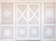 Pink wood classic door with pattern Royalty Free Stock Image