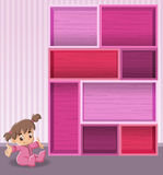Pink wood shelf with baby girl. Stock Photography