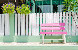 Pink Wooden Bench Stock Photography