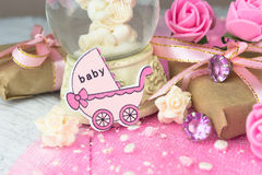 Pink wooden carriage figure with wrapped presents Stock Images