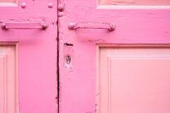 Pink wooden door. Horizontal image of pink wooden door Royalty Free Stock Image