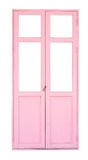 Pink wooden door isolated on white background Stock Images