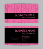 Pink wooden graphic business card design. Front and back. Stock Images