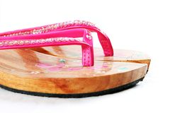 Pink wooden sandals Royalty Free Stock Photos