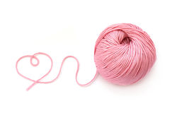 Pink wool ball and heart shape Royalty Free Stock Photo