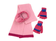 Pink wool scarf, a pair of gloves and earmuffs nicely arranged. Royalty Free Stock Photos