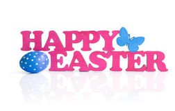 Pink words. Happy easter and blue easter egg isolated on white Royalty Free Stock Images