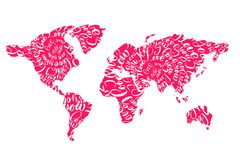 Pink world map with hearts i love you tags for Valentines Day. Vector flat illustration Royalty Free Stock Photography