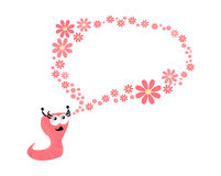Pink worm. With a conversation bubble made by flowers Royalty Free Stock Photo
