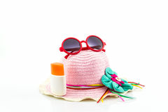 Pink woven hat. Royalty Free Stock Photography