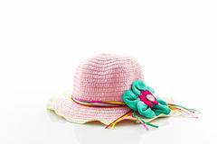 Pink woven hat. Royalty Free Stock Photo