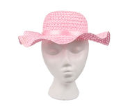 Pink Woven Straw Hat Stock Images