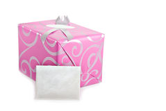 Pink wrapped present with greeting card royalty free stock image