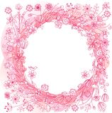 Pink wreath with stylized flowers Stock Photo