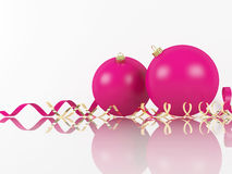 Pink Xmas Balls And Scrolls On White Background Royalty Free Stock Photography