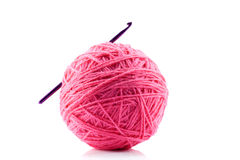Pink yarn and crotchet hook Royalty Free Stock Photo
