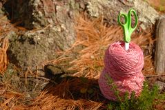 Pink yarn and green scissors on forest floor stock photo