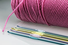 Pink Yarn and Hook Stock Images