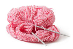 Pink yarn for knitting Royalty Free Stock Photo