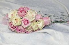 Pink and yelllow roses wedding bouquet Stock Images