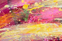 Pink, yellow abstract art. Oil abstract painting for your unique project. stock photos
