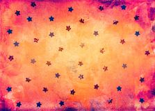 Pink and yellow background with stars. Textured bright coloured pink and yellow background with foil stars decoration royalty free illustration