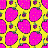 Pink and yellow background with strawberry. Vector Stock Photography