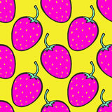 Pink and yellow background with strawberry. Vector seamless pattern Royalty Free Stock Photography