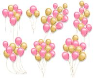 Pink and yellow balloons set Vector realistic. 3d illustration collection for birthday, gift, cards, invitation vector illustration