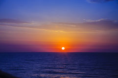 Pink yellow blue sunrise on the Mediterranean. From Costa Blanca, Spain Stock Photography