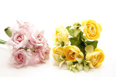 Pink and yellow bunch of roses Stock Image