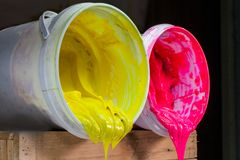 pink and yellow colors of ink for print tee shirt Stock Images
