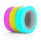 Pink, yellow, cyan insulation tape coils isolated on white background. Pink, yellow, cyan insulation tape coils, isolated on white background stock photos