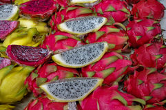 Pink and yellow Dragon fruits Stock Photo