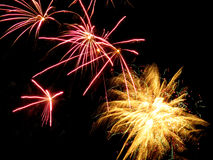 Pink and yellow fireworks. From Old Orchard Beach, Maine Royalty Free Stock Photo