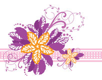 Pink and yellow floral banner stock illustration