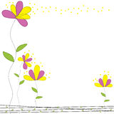 Pink and yellow flower doodle garden card vector Stock Photography