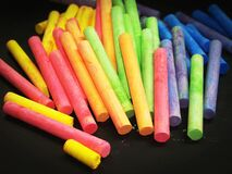 Pink Yellow Green and Blue Chalk Stock Images