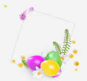 Pink, yellow and green easter eggs, small yellow flowers. Square for text. Royalty Free Stock Photos