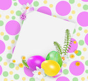 Pink, yellow and green easter eggs and small yellow flowers. white snowdrops on the spotted bright background. Royalty Free Stock Photos