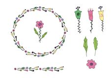 Pink, yellow, green Flower doodle and doodle leaves in circle shape. Wreath and flower brush. Naive style. Set of isolated royalty free illustration