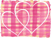 Pink, yellow lines painted watercolor pattern with white hearts Royalty Free Stock Photography