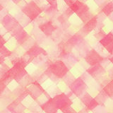 Pink, yellow lines and squares painted watercolor Royalty Free Stock Photo